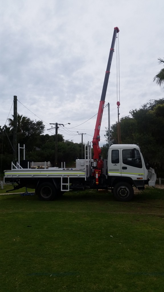 Newest edition to the fleet. Isuzu 550 4x4 with 10m reach 2.6ton crane
